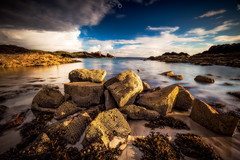 Sunshine and Showers (Augmented Reality Images (Getty Contributor)) Tags: beach canon clachtoll clouds highlands landscape leefilters longexposure rocks scotland seascape sunset sutherland water westcoast