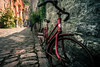 little red bicycle (bjdewagenaar) Tags: bicycle durbuy street streetphotography red colors city urban pavement bricks perspective wideangle ultrawideangle sigma sony sonya58 sonyalpha sonyphotographer sonyimages art belgium lightroom adobelightroom adobe raw photography photograph photographer