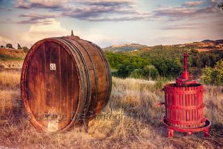 Wine Barrel and Grape Press Along a Country Road, Tuscany, Italy