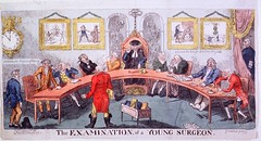 """The examination of a young surgeon (National Library of Medicine - History of Medicine) Tags: """"peerreview"""" surgeon """"courtofexaminers"""" """"semicirculartable"""" skulls bones skeleton """"masterchair"""" caricatures etching """"thenationallibraryofmedicine""""ihm imagesfromthehistoryofmedicine freeonlineresource visualmedia""""fineart""""digitalcollections""""""""biomedicalresources books videos maps examination """"royal college surgeons"""""""