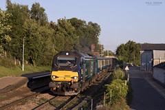 68005 departs Brundall working 2C35 1847 Great Yarmouth - Norwich 17/8/2017 (Paul-Green) Tags: class 68 68005 68028 vossloh eurolight diesel engine brundall station flickr canon camera drs direct rail services aga abellio greater anglia august 2017 sun evening uk gb railways norfolk
