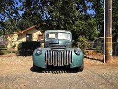 Guard Dog (misterbigidea) Tags: mustache growl view street landscape treasure rural workhorse style streamline robot facesinplaces parked roadside patina crusty neighborhood sold chrome chevrolet chevy truck pickup classic vintage hood grille cowcatcher grin face