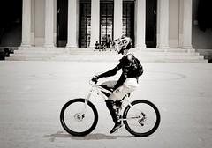 Day 247 : Is for ... The Fast And Furious (Storyteller.....) Tags: nikon 365 deep365 blackandwhite blackwhite man boy helmet bike bicicle strret athens fast furious run race wheels uniform