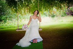 When dreams come true. (scrimmy) Tags: bride wedding countryhouse rufflets swing bouquet smile wishing dreams