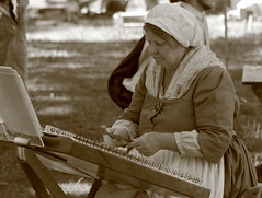 Revolutionary War Days, Cantigny Park. 20 (EOS) (Mega-Magpie) Tags: canon eos 60d cantigny park revolutionary war days wheaton dupage il illinois usa america sepia people person woman girl lady gal dulcimer musician outdoors