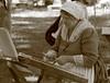 Revolutionary War Days, Cantigny Park. 20 (EOS) (Mega-Magpie) Tags: canon eos 60d cantigny park revolutionary war days wheaton dupage il illinois usa america sepia people person woman girl lady gal dulcimer musician outdoors