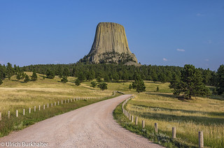 The Devil's Tower in North Eastern Wyoming.