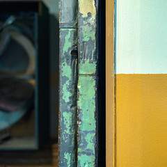 Door ends and wall (Tim Ravenscroft) Tags: wall oldpaint warehouse lowell hasselblad x1d