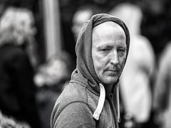 Hoodie (Frank Fullard) Tags: frankfullard fullard hoodie candid street portrait looking castlebar mayo irish ireland monk monochrome blackandwhite face