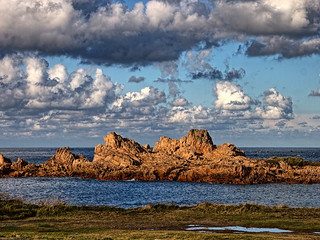 The rocks at Grandes Rocques, late afternoon.