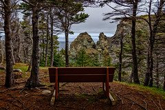 Miranda Cove Overlook (Brett of Binnshire) Tags: furniture activity bench water mountains highdynamicrange larkharbor clouds hdr weather ocean lrhdr shoreline manipulations locationrecorded hiking trail scenic newfoundland canada lightroomhdr cliff mountain