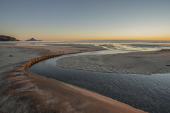 Warming up (zebedee1971) Tags: landscape ohope whakatane new zealand water ocean sand waves sunrise dawn sky light sunlight stream river coast coastal cloudless clear cold wet winter mount holiday alone isolation morning