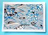 NC4 - Note card with Japanese motif (tengds) Tags: card blue black leaves cream waves papercraft tengds notecard handmadecard japanesemotif japanesedesign japaneseprint