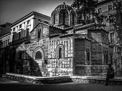 A place to find peace : sitting next to the church (LUMEN SCRIPT) Tags: worldtrekker church athens greece stphotographia history blackwhite ermoustreet orthodox dome arches historyantiquities monochrome light shadow silhouette lumenscript m street candid publicspace people str