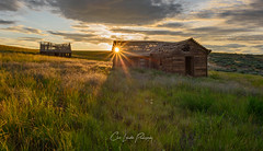 Brighter Days (Chris Lakoduk) Tags: home abandoned homestead landscape scenery old house barn derelict condemned broken fallenapart crumbling photography nikond800 nikon grass plain field prairie color sky sunset sunburst