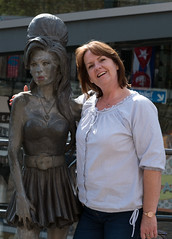 Amy and Barbara (Pammy'sPics) Tags: barbara londonbarbarapamfujixt2fujifilm london fujixt2 tourists summer city camdenmarket market shopping amywinehouse statue localgirl