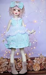 Velvet Cake Dress Minifee Slim MSD - Pastel Blue (Clockwork Faery Co) Tags: clockwork faery bjd doll fae pastel fairy ligths unoa lusis blue pink cute kawaii dress outfit velvet cake casual
