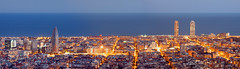 Barcelona skyline panorama at the Blue Hour (antoniobraza) Tags: barcelona panorama skyscraper tower street travel spain view business european urban landmark attraction panoramic skyline oval viewpoint building tourist sightseeing famous high architecture spanish city catalonia blue sky sight mediterranean sea water agbar office europe landscape cityscape capital bluehour hour