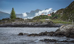 The island Runde - Norway (Frank ) Tags: island runde norge norway europe frnk sonya7r canonef70200mml tree water ocean landscape clouds mountains sky zoom waves blue orange red yellow green white road travel holiday scene scenery wet rain weather wild explore