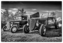 A Pair of Hot Rods in B&W (kenmojr) Tags: auto automobile car classic antique vintage transportation carshow cruise cruisein summer bangor maine newengland usa atlantic eastern nickys diner restaurant food eat nikon d7100 nikkor 18105 kenmo kenrmorris kenrmorrisjr hotrod hotrods rusty rust pickup truck ford modela bw nickysdiner bwworldwithnikon
