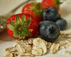 Staying Healthy Macro Monday 219/365 (radleyfreak) Tags: strawberries blueberries oats porridge stayinghealthy background bokeh macromondays husk skin fruit berries colourful colour health green red blue detail