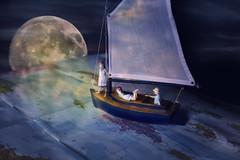 Sail Away (Cheryl3001) Tags: miniature kids sailboat moon map ocean night canon 5d mark iii 50mm photoshop nik nikcollection