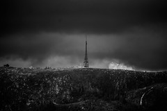 Rundemanen mauntain in Bergen, Norway (MortenTellefsen) Tags: mountain rundemanen bergen norway norwegian nature natur norsk fjell fjelltur bw blackandwhite blackandwhiteonly clouds svarthvitt landscape landskap dark radiotower tower dramatic