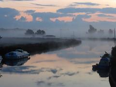 The River Waveney in early morning mist (Kirkleyjohn) Tags: beccles suffolk norfolk norfolkbroads broads waveneyvalley riverwaveney marshes mist morning morninglight water reflection