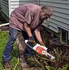 Stu Using His Brand New Stihl (✈Busy-Off To Canada Today!✈) Tags: stu chainsaw stihl electric trimming cutting inthebackyard