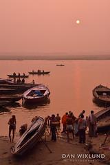 A Gagnes morning routine at sunrise (Dan Wiklund) Tags: india varanasi uttarpradesh men morning river ganges riverside d800 2014 boats misty dawn sun sunrise bath washing