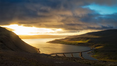 Westfjords (David Ruiz Luna) Tags: westfjords vestfirðir vesturbardastrandarsysla islandia fiord fjord fiordo iceland coastline hills colinas mountain montaña sunset puestadesol dawn evening atardecer light luz clouds nubes landscape paisaje escenario scenery road carretera sun sol coast costa water agua sea mar ocean atlantic océano outdoors nature summer verano touraroundtheworld turismo tourist touring tourism travel trip viajar europe europa
