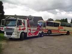 LAJ 999W Volvo B58 Irizar leaves Andrews for Harrods (John Wakefield) Tags: laj999w volvo b58 irizar urko andrews harrods rb trucks po56tey