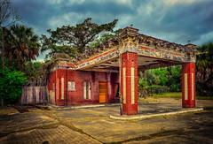 No 8 (crowt59) Tags: nikonflickraward texas abandoned gas station lightroom lr texture clouds red brick crowt59 nikon d800 wide angle texturedtexas no 8 beeville