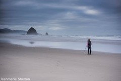 Photographer Shooting (jeanmarie's photography) Tags: sunrise clouds oregon cannonbeach haystackrock nikon landscape person outdoors morning shore pink sky sand photographer beach jeanmarieshelton
