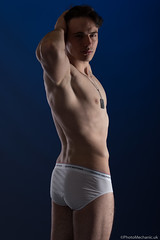 Adrian (PhotoMechanic.uk) Tags: male man guy dude youth model pose photoshoot studio shirtless topless underwear undergarment hilfiger briefs white body physique muscle muscular masculine chest nipple armpit stand standing