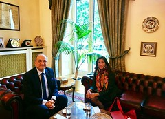 At the Turkish Embassy with His Excellency the Ambassador to Turkey, Abdurrahman Bilgic