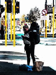 Bags of Room at the Inn (Steve Taylor (Photography)) Tags: c4coffee bag backpack blonde holdall noleftturn trafficlights bikelane art digital street road black blue yellow white red teal woman lady newzealand nz southisland canterbury christchurch cbd city contrast phone mobile