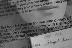 #MacroMondays: #Evolution (quietpurplehaze07) Tags: father pow ww2 wartime book publication bw monochrome daughter dad gunnerbertmartin diary mémoir text page macromondays evolution