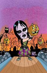 Halloween Punk Rock Bowling YYC (sans text) (Tom Bagley) Tags: topstone vampiregirl punk halloween bowling pumpkin owl spooky creepy eerie weird ink tombagley calgary alberta canada majorminor