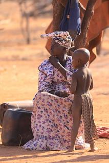 Herero Mother and Child Himba Village Kamanjab Namibia Africa