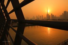 Sunrise at Dubai Canal (hisalman) Tags: burjkhalifa dubai canal canon 70d silhoutte sunrise hisalman