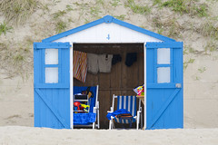Beach  hut with open doors (Jan van der Wolf) Tags: map12686ve beach beachhuts beachhut blue doors deur deuren strand strandhuisje texel four vier number duinen dunes sand zand