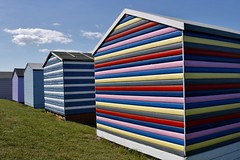 Colourful Beach Huts...... (markwilkins64) Tags: beachhuts huts whitstable colours colourful seasidetown seaside cloud stripes bluesky canon uk kent
