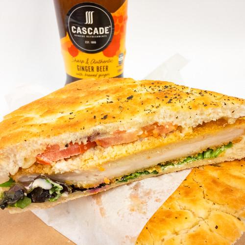 Chicken schnitzel toasted sandwich