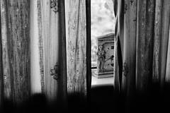 Glimpse (JamieHaugh) Tags: clevedon northsomerset england uk sony a6000 indoors curtains time clock window blackandwhite blackwhite bw monochrome glimpse