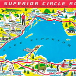 MICHIGAN MAP UP 1950s LAKE SUPERIOR Trans-Canada Superior Area CIRCLE ROUTE MAP SOO to Keweenaw & over to Duluth & back thru CANADA Michigan History Heritage Travel & Tourism 2 thumbnail