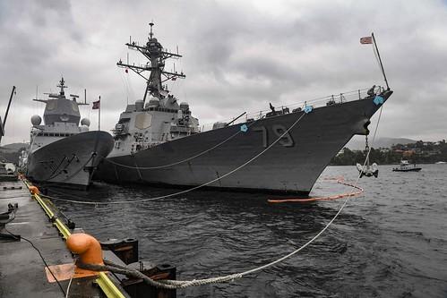 USS Oscar Austin is moored alongside the Norwegian Navy ship in Bergen, Norway.