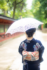 YUKATA (ai3310X) Tags: carlzeiss ycontax planar t1450 duto 浴衣 和装 神社 日傘