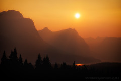 Fire & Ice (Tristan Rayner) Tags: fires icefieldsparkway rockiestrip smoke haze sunset mountains lakes wildfires national park banff jasper canada150