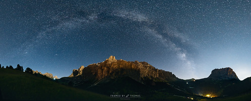 ​The Milky Way arc over the Dolomites, Italy.